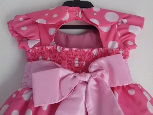 vestido minnie rosa infantil festa com babados e bolinhas