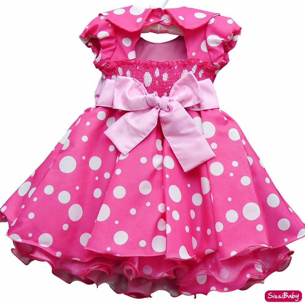 Vestido Minnie Rosa Luxo Bambina Fashion 1 A 3 Com Tiara