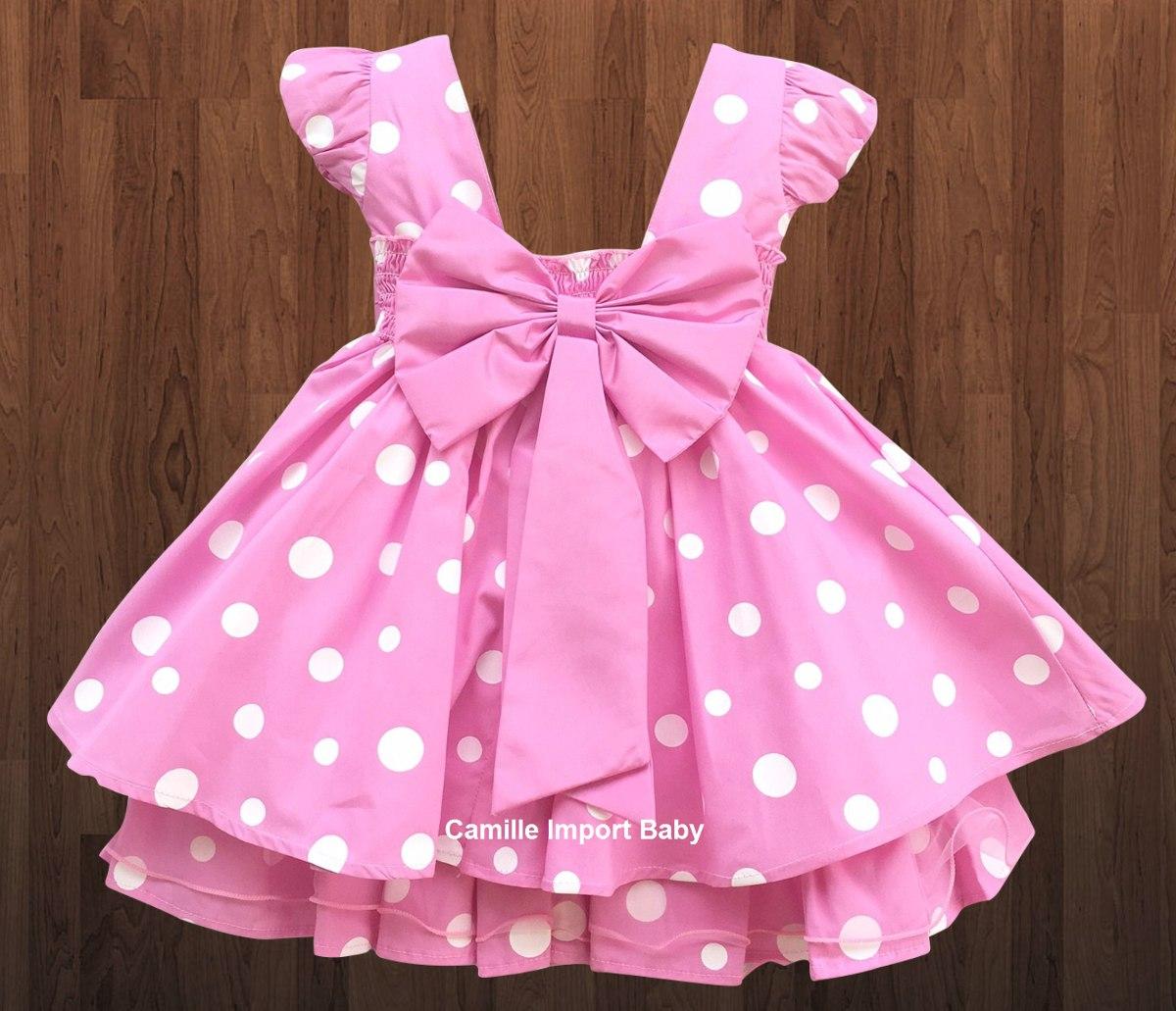 Vestido Minnie Rosa Luxo Infantil Luxo Com 2 Tiaras Minei R 100