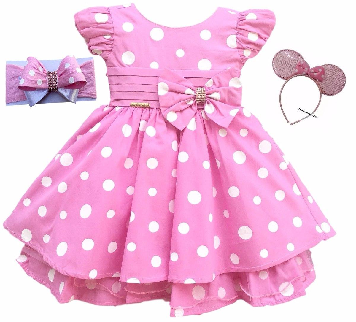 Vestido Minnie Rosa Luxo Infantil Luxo Com 2 Tiaras Minei R 105