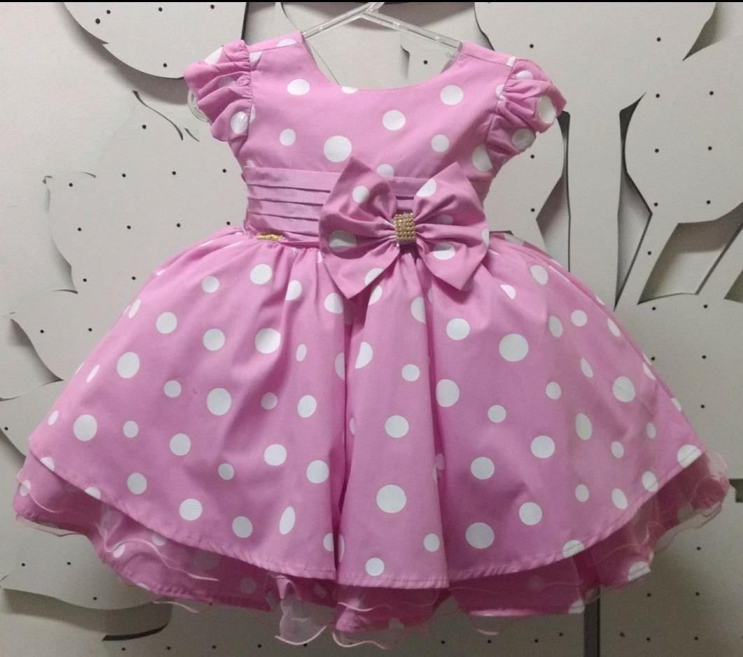 Vestido Minnie Rosa Poa Festa Infantil Luxo E Tiara