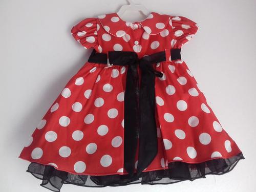 vestido  minnie vermelha com bolinhas e  com chapéu