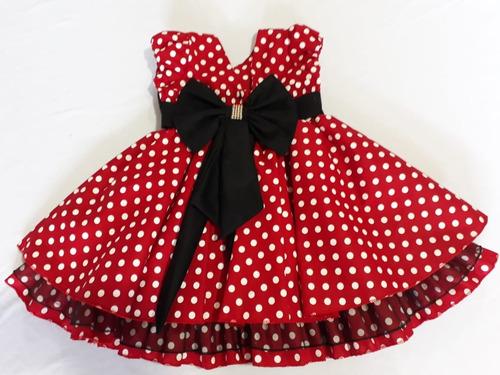 vestido minnie vermelha d festa luxo com tia e bico de pato