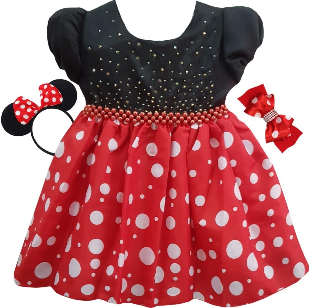 Vestido Minnie Vermelha Festa Infantil 1 A 4 Promocao R 89 90