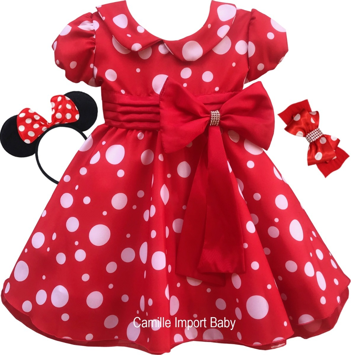 Vestido Minnie Vermelha Festa Infantil E Tiaras Promocao R 85