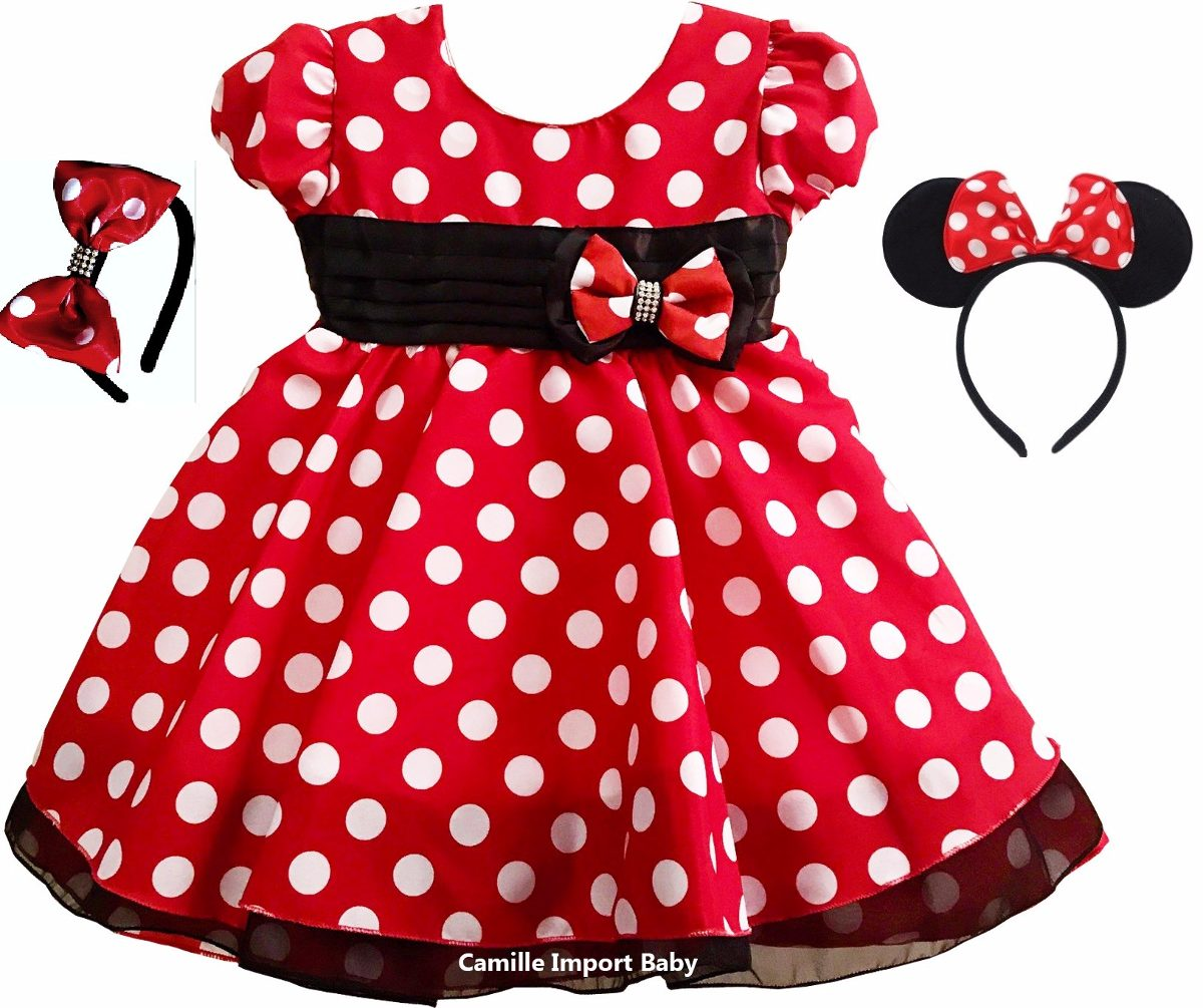 Vestido Minnie Vermelha Festa Infantil Luxo E Faixa E Tiara R