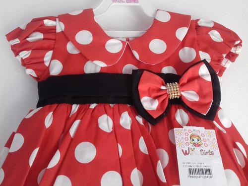 vestido minnie vermelha infantil com chapéu bolinhas festa