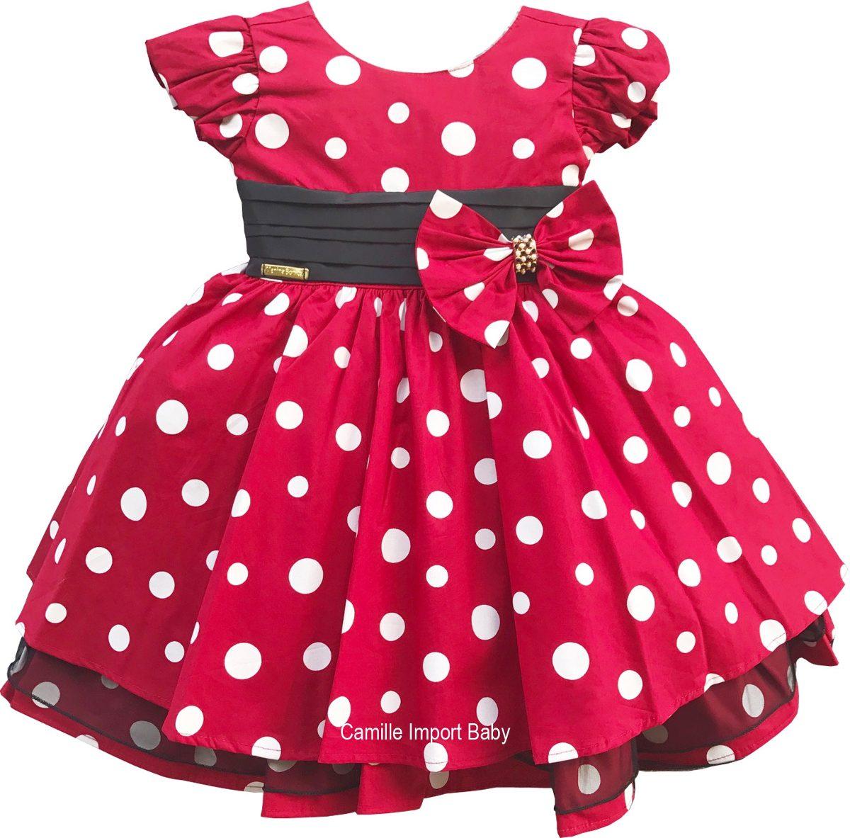 Vestido Minnie Vermelho Infantil Luxo Com Faixinha Minnie R 109