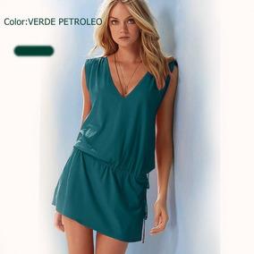 85514b36a Vestido Color Azul Petroleo Vestidos Cortos Mujer - Vestidos en ...