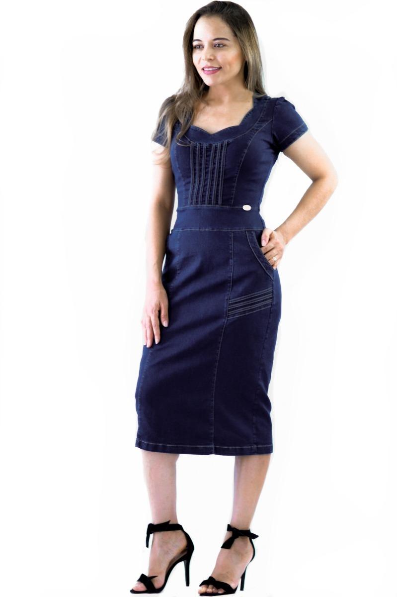 15950a499 vestido moda evangélica feminino com bolso plus size e lycra. Carregando  zoom.