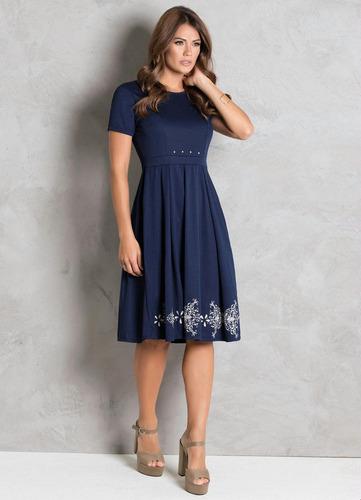 vestido moda evangélica festa midi com pérolas azul marinho