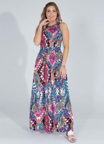 vestido moda evangélica longo estampado para festa feminino