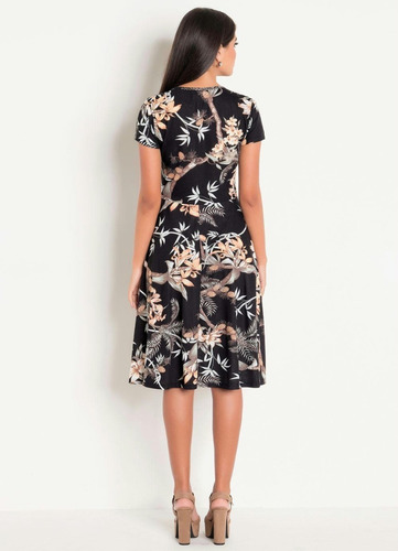 vestido moda evangélica midi estampado plus size blogueira