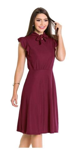 vestido moda evangélica midi feminino rodado com gola laço