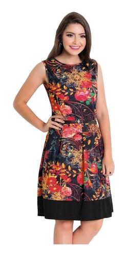 vestido moda evangélica midi florido blogueira sem mangas