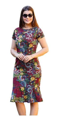 vestido moda evangélica midi florido com babado blogueira