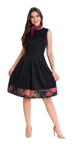 vestido moda evangélica midi madrinha sem mangas preto