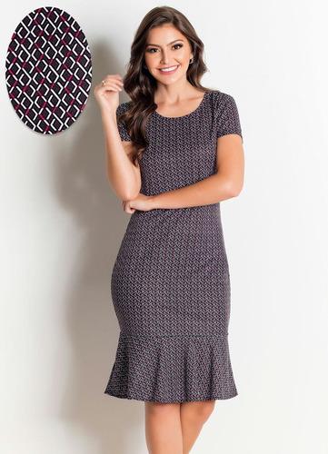 vestido moda evangélica midi peplum feminino babado justo