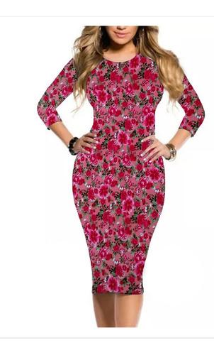 vestido moda evangélica midi tubinho mangas 3/4 várias cores