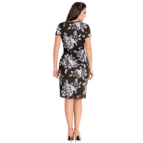 vestido moda evangélica tubinho midi preto florido blogueira