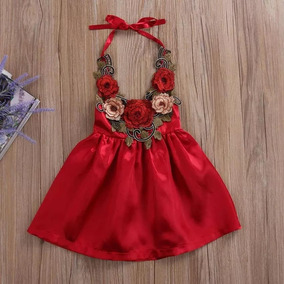 Vestido Moda Para Niña Rojo Con Rosas Bordadas Hermoso Lindo