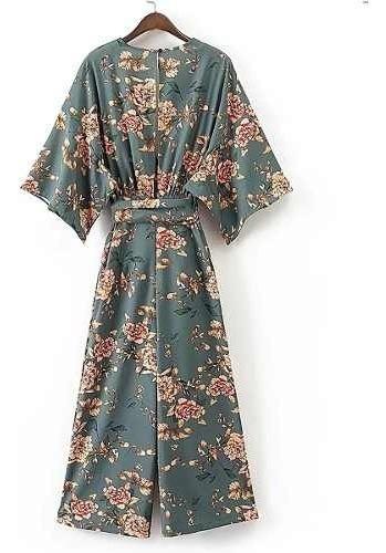 vestido mono cuello profundo v floreado jumpsuit