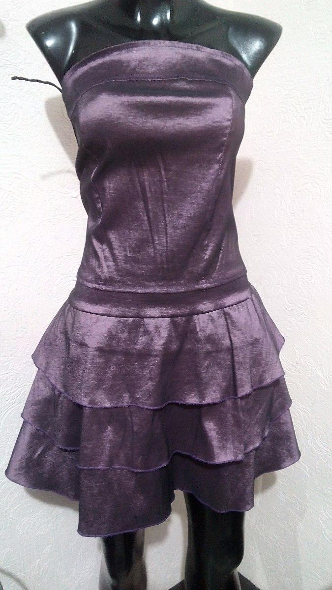Vestido Morado Metalico Satinado Talla Ch - $ 70.00 en Mercado Libre