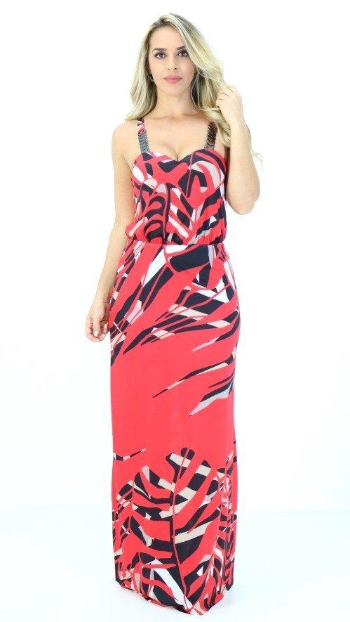 3cfb090c27 vestido morena rosa longa vermelha estampada pv18. Carregando zoom.