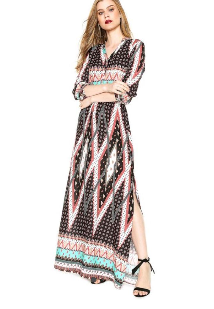 83a6c983b Vestido Morena Rosa Longo Geometrico Com Tags P - R$ 130,00 em ...
