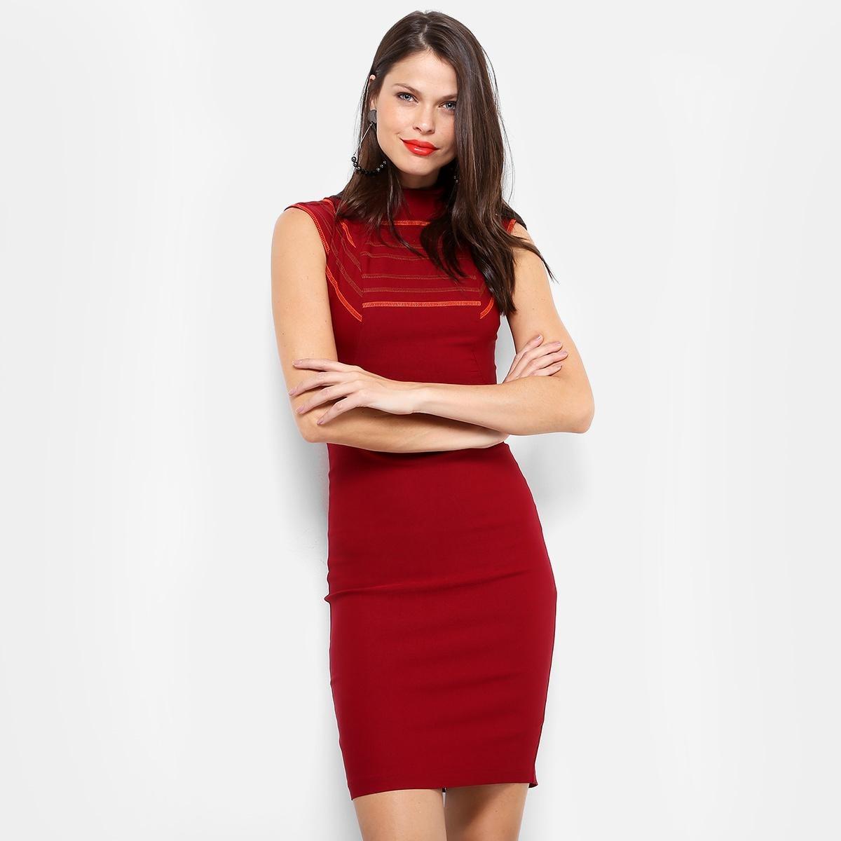 9431b747d Vestido Morena Rosa Tubinho Midi Recortes - Cor Vinho - R$ 299,99 em ...