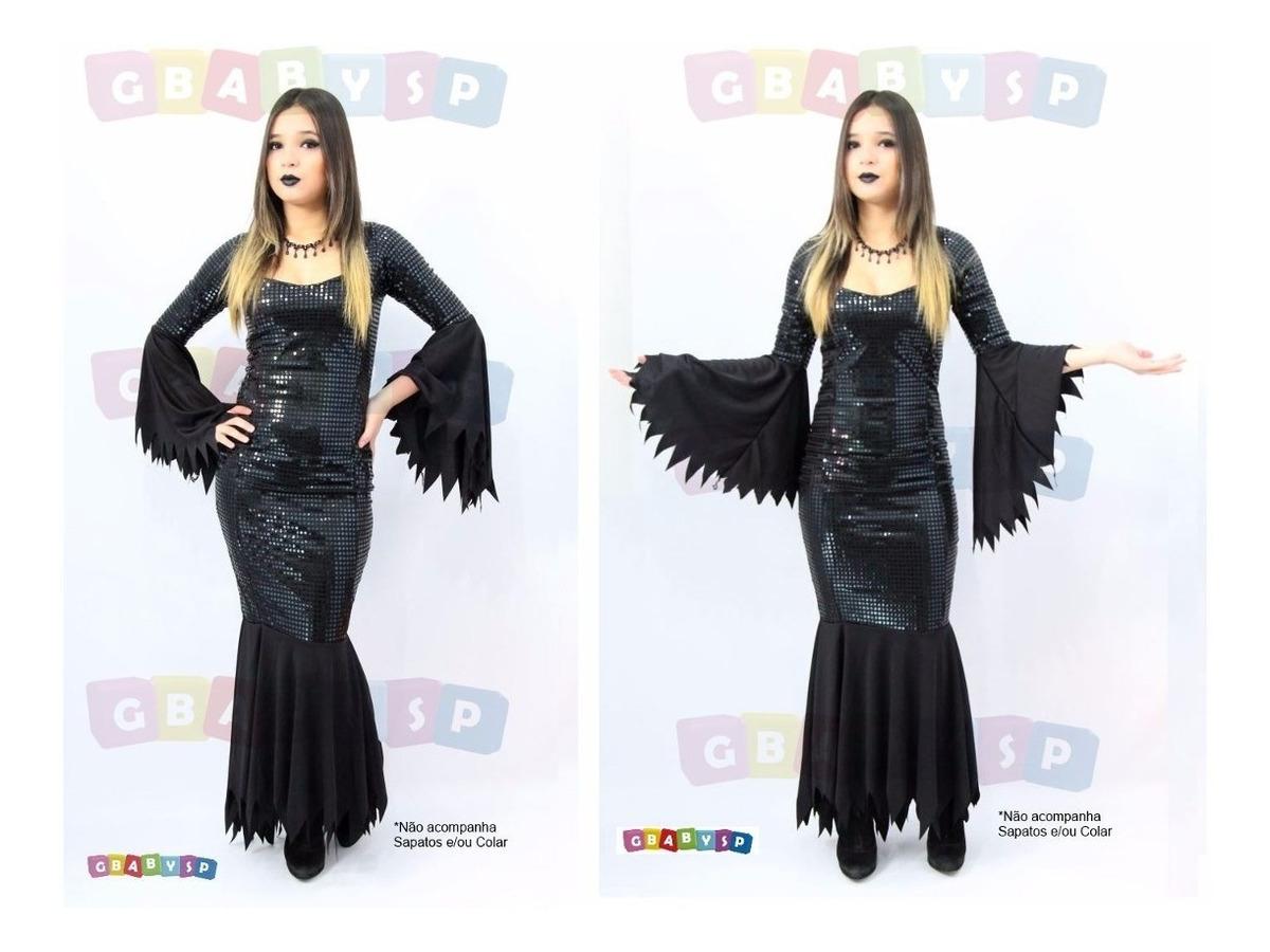 fbb19668576bb1 Vestido Mortícia Da Família Addams Fantasia Bruxa Halloween