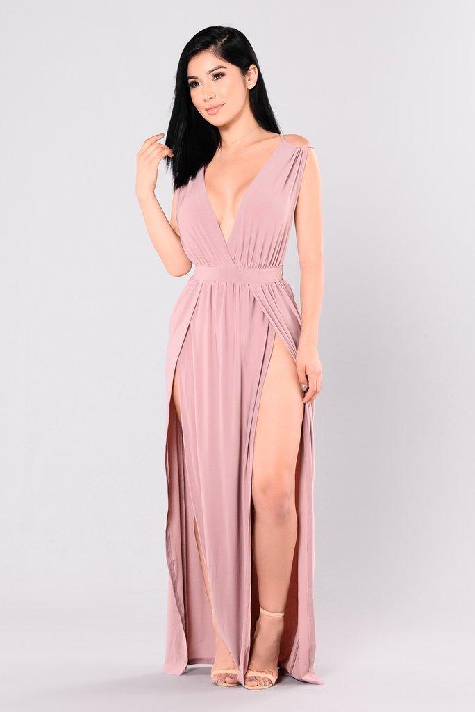 Vestido Mujer Largo Elegante De Moda Maxidress Rosa Palido ...