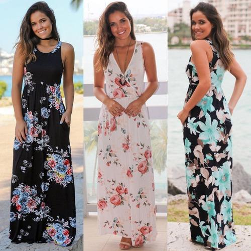 vestido mujer largo verano fiesta tropical casual