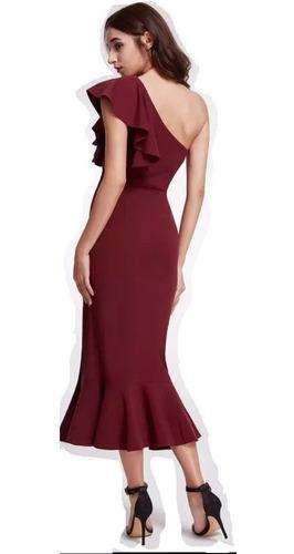 vestido mujer noche gala moderno con raja en la falda