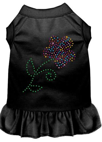 vestido multi flor diamante de imitación negro xs (8)