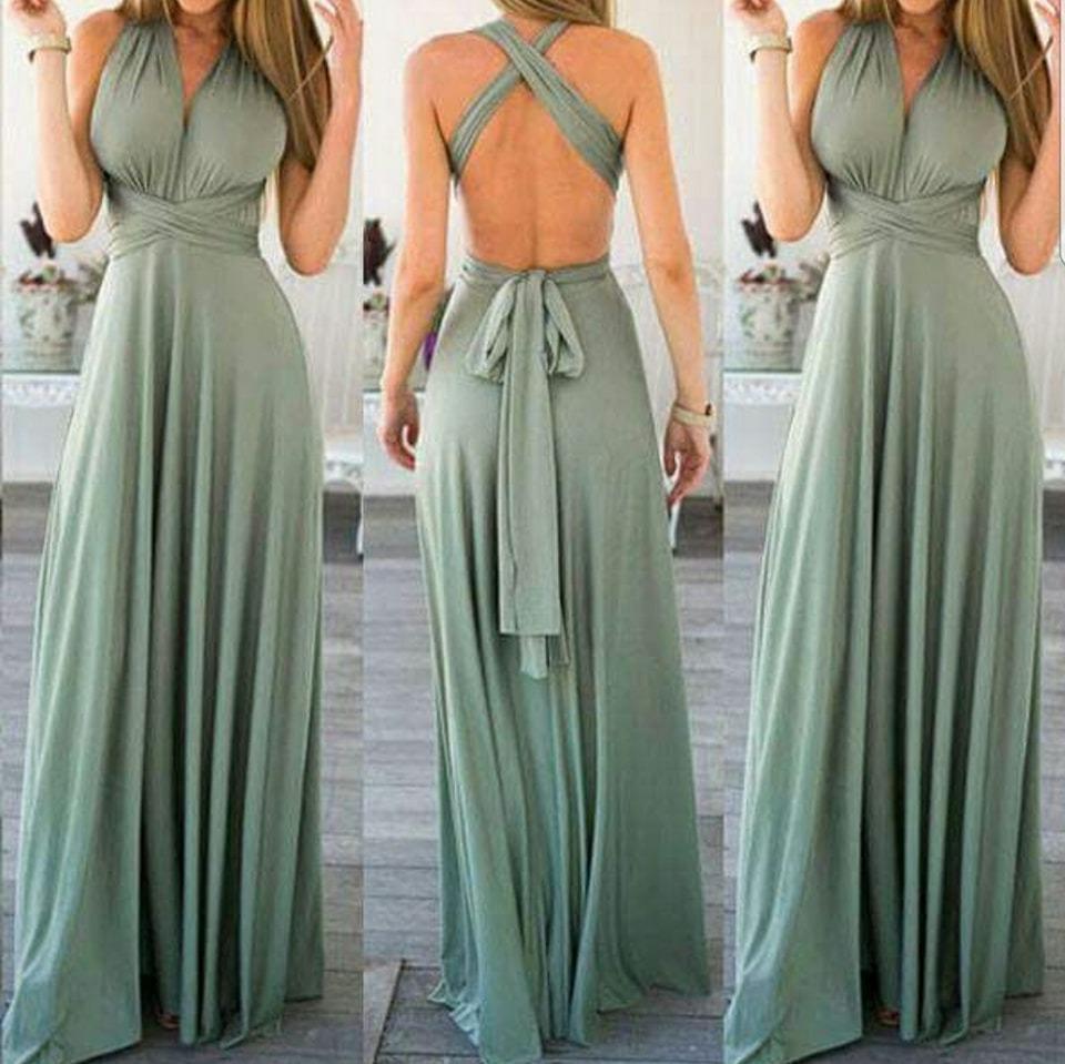 13c0ee78b Vestido Multiforma Largo, Color Verde Suave, Talla M - $ 33.000 en Mercado  Libre