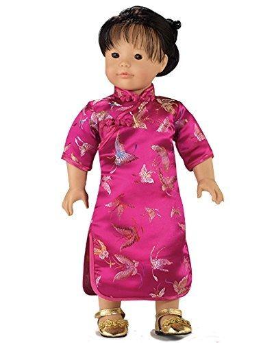 vestido muñeca 18 pulgadas vestido mandarina fucsia perfecto