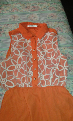 vestido naranjo asimétrico talla l/m nuevo oferta!!