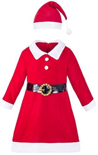 Vestido Navideño De Santa Claus Para Niña De Lilax Con Go