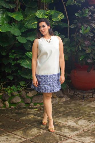 vestido nayibi blanco/azul [tallas extra curvy] atália