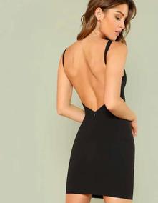 6acd83b51cf4 Vestido Negro Ajustado Con Espalda Abierta