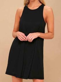 Vestido negro basico algodon