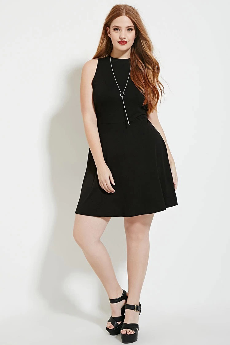Vestido Negro Casual Forever 21 Talle Especial