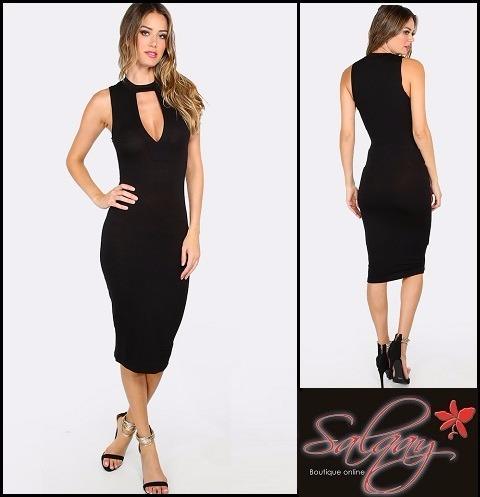 Vestido Negro Casual Sexy Verano Salqay