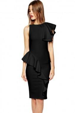 Vestido Negro Coctel Moda Fiesta Olanes Midi Formal Mediano