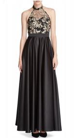 Vestido Negro Con Dorado Marca Lizminelli Talla Mediana