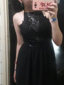 Vestido Negro Con Encaje Corto Adelante Y Largo Atras