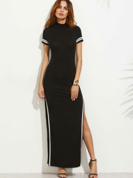 Vestido negro rayas blancas