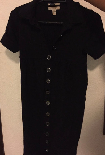 vestido negro corto con botones burberry