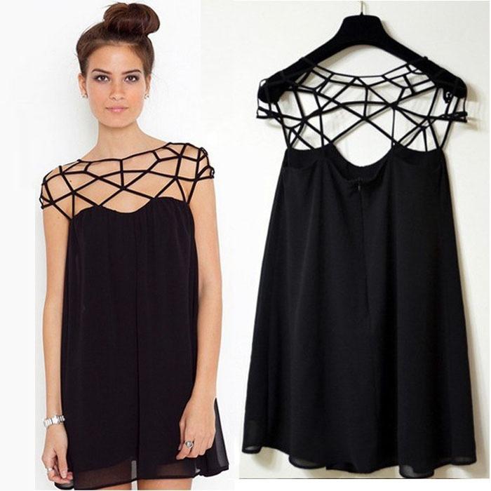 Buenos precios última moda buscar Vestido Negro Corto De Fiesta Casual Con Escote Cutout